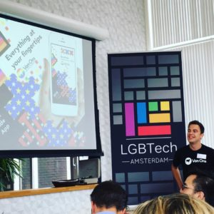Spreken op LGBTech Amsterdam over de Gay Pride app voor 100 Amsterdamse tech-ondernemers!
