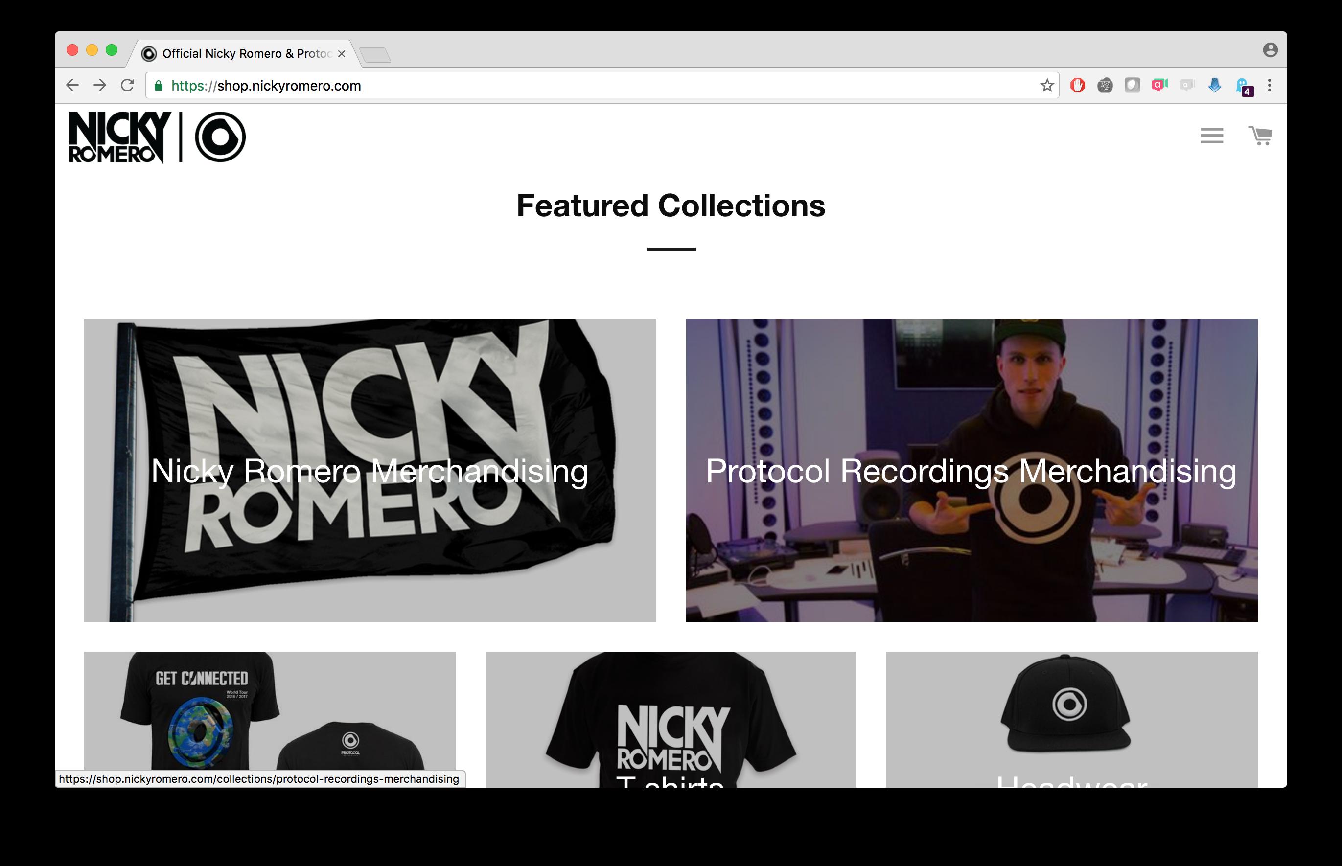 Van Ons deed Shopify Development voor onder andere DJ Nicky Romero. High-traffic merchandise shop verkoopt in alle landen ter wereld.