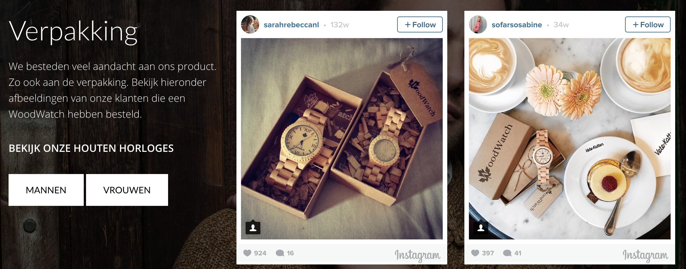 WoodWatch gebruikt WooCommerce Instagram integratie om ambassadeurs slim in te zetten op de site!